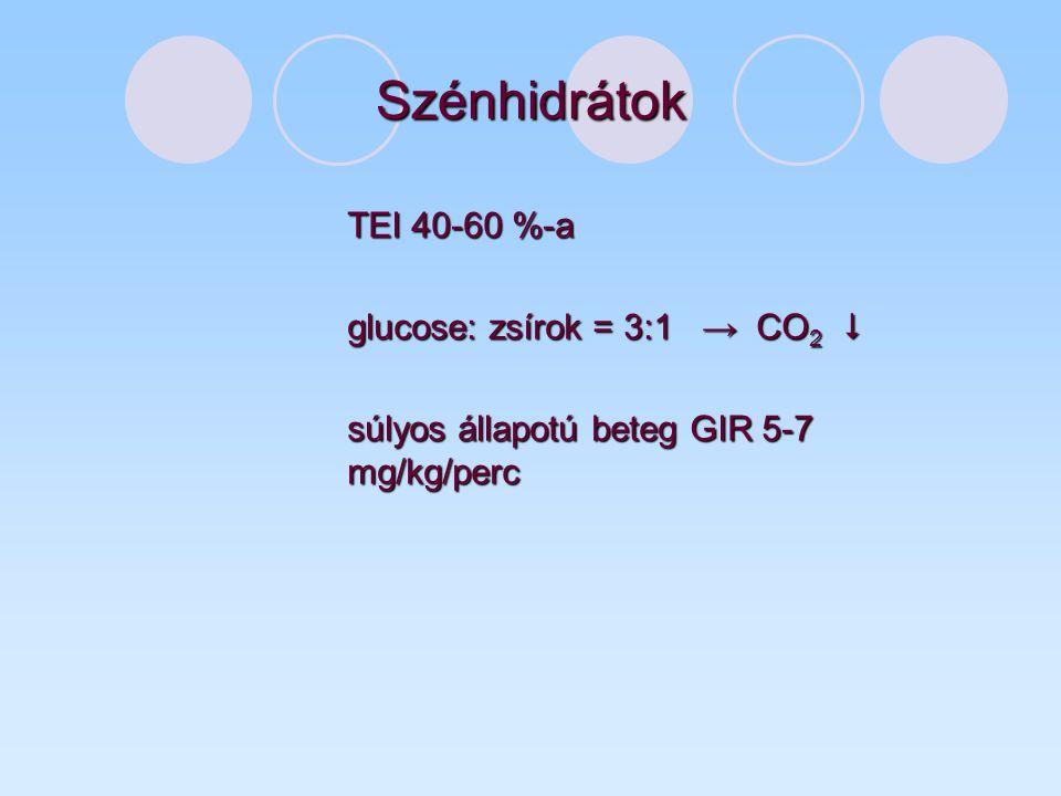 Szénhidrátok TEI 40-60 %-a glucose: zsírok = 3:1 → CO2 