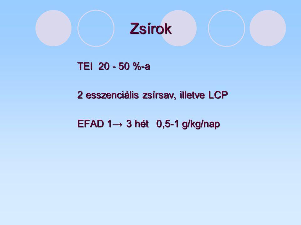 Zsírok TEI 20 - 50 %-a 2 esszenciális zsírsav, illetve LCP