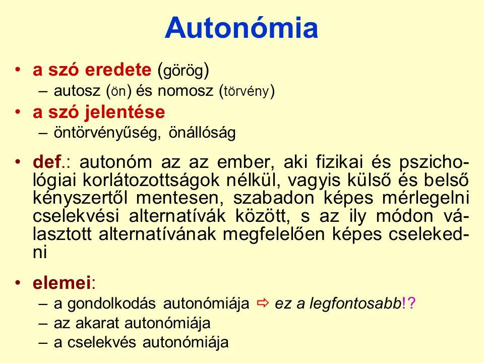 Autonómia a szó eredete (görög) a szó jelentése