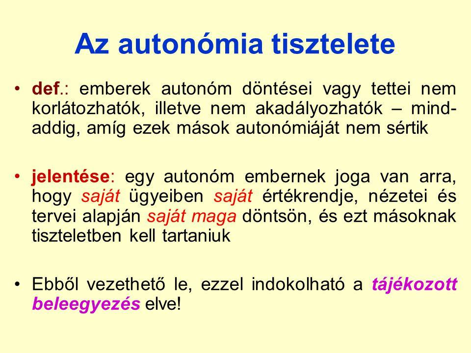 Az autonómia tisztelete