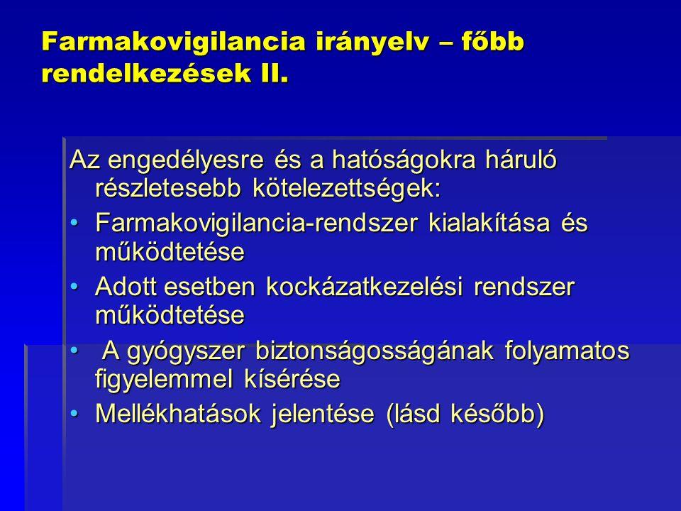 Farmakovigilancia irányelv – főbb rendelkezések II.