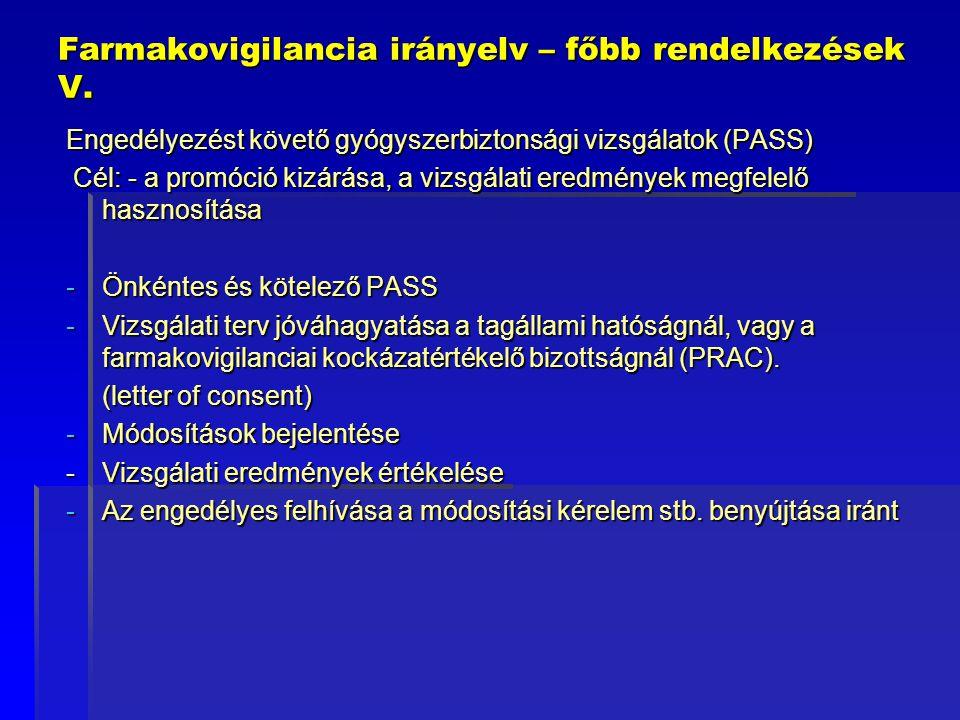 Farmakovigilancia irányelv – főbb rendelkezések V.