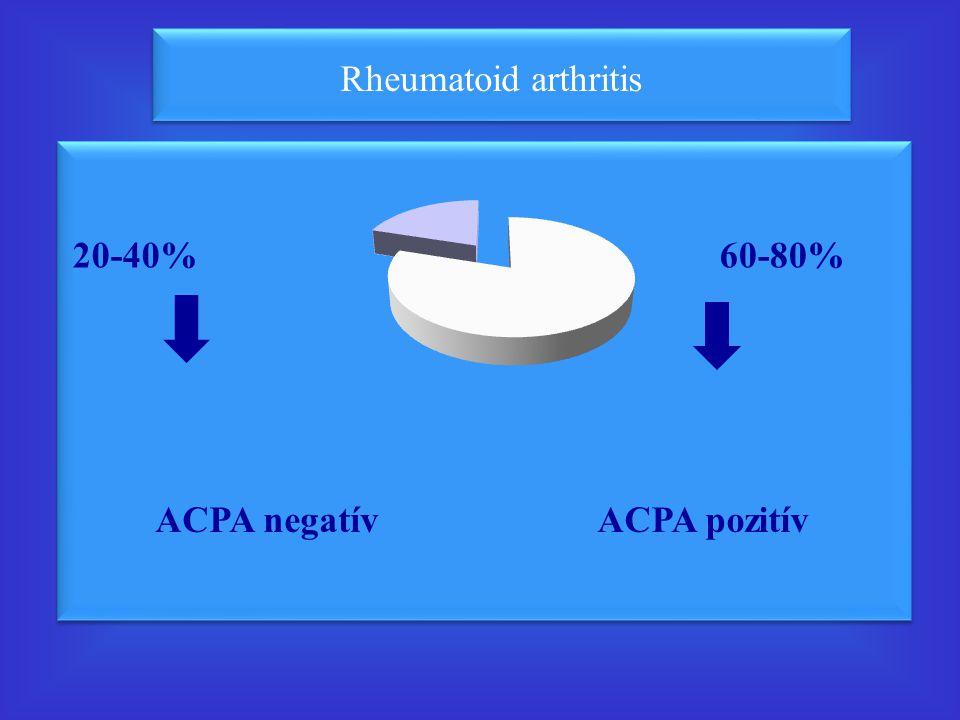 20-40% 60-80% ACPA negatív ACPA pozitív