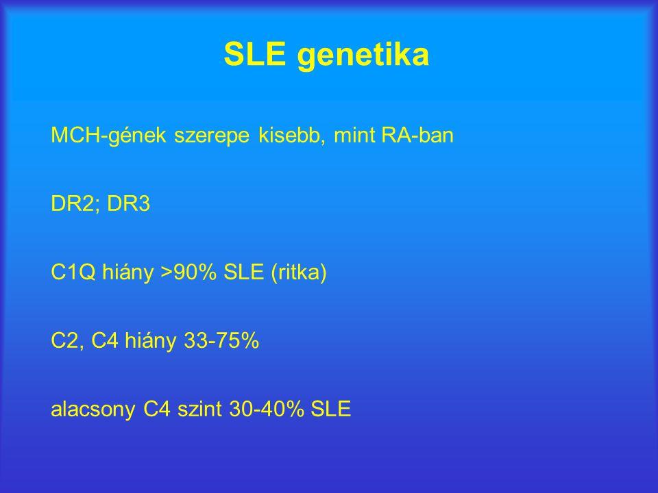 SLE genetika MCH-gének szerepe kisebb, mint RA-ban DR2; DR3