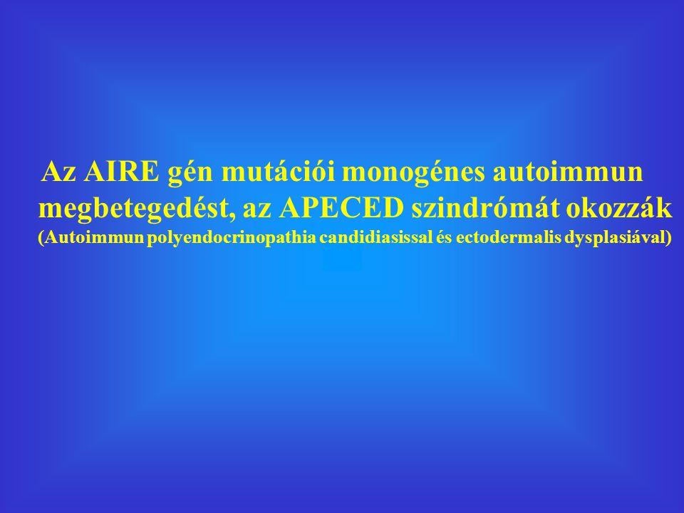 Az AIRE gén mutációi monogénes autoimmun megbetegedést, az APECED szindrómát okozzák (Autoimmun polyendocrinopathia candidiasissal és ectodermalis dysplasiával)