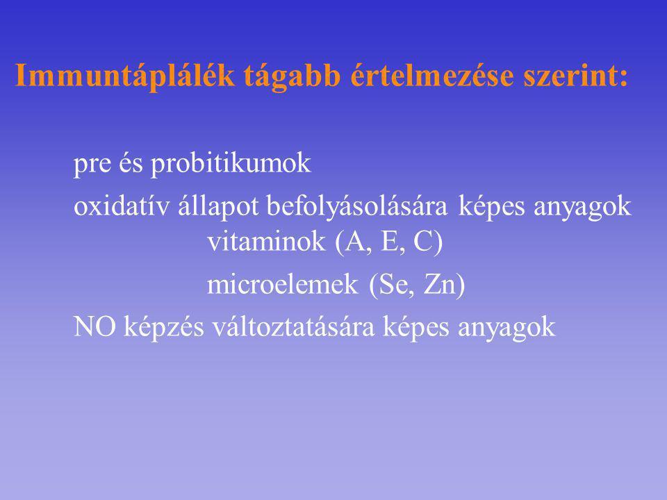 Immuntáplálék tágabb értelmezése szerint: