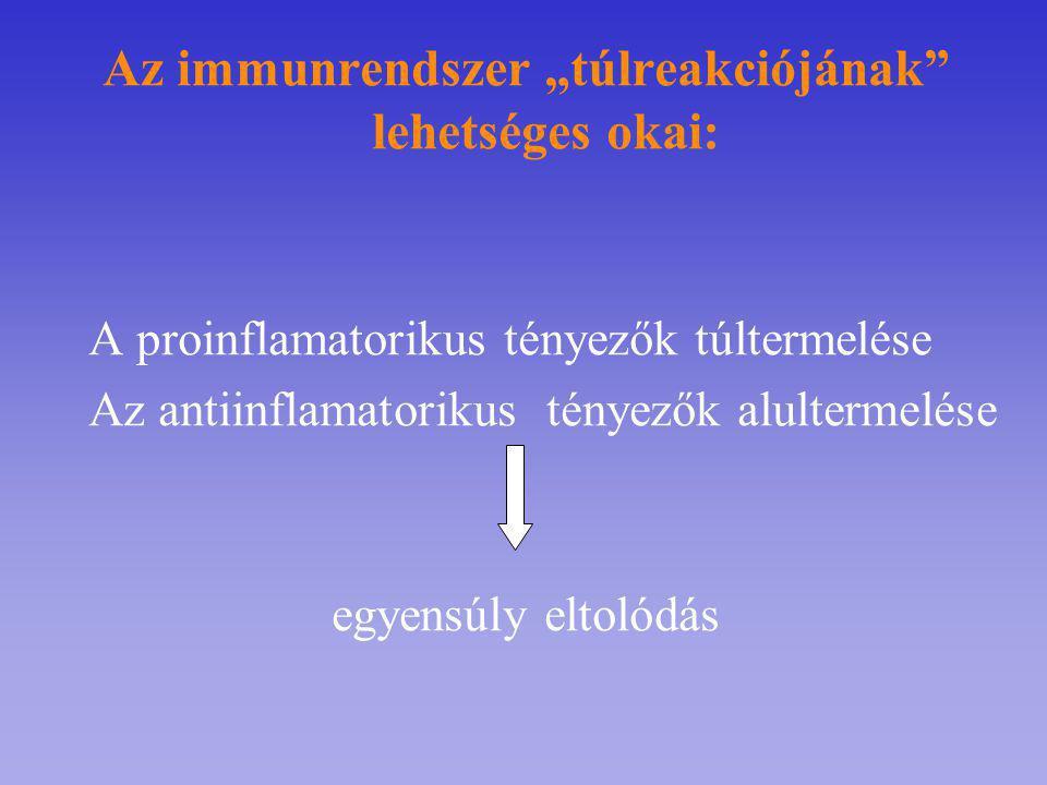"""Az immunrendszer """"túlreakciójának lehetséges okai:"""