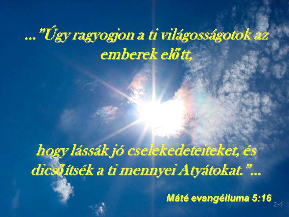 … Úgy ragyogjon a ti világosságotok az emberek előtt, hogy lássák jó cselekedeteiteket, és dicsőítsék a ti mennyei Atyátokat. …