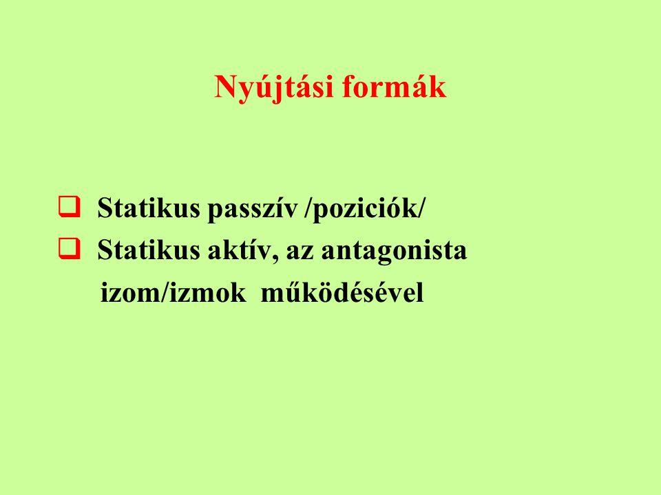 Nyújtási formák Statikus passzív /poziciók/