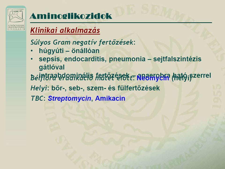 Aminoglikozidok Klinikai alkalmazás Súlyos Gram negatív fertőzések: