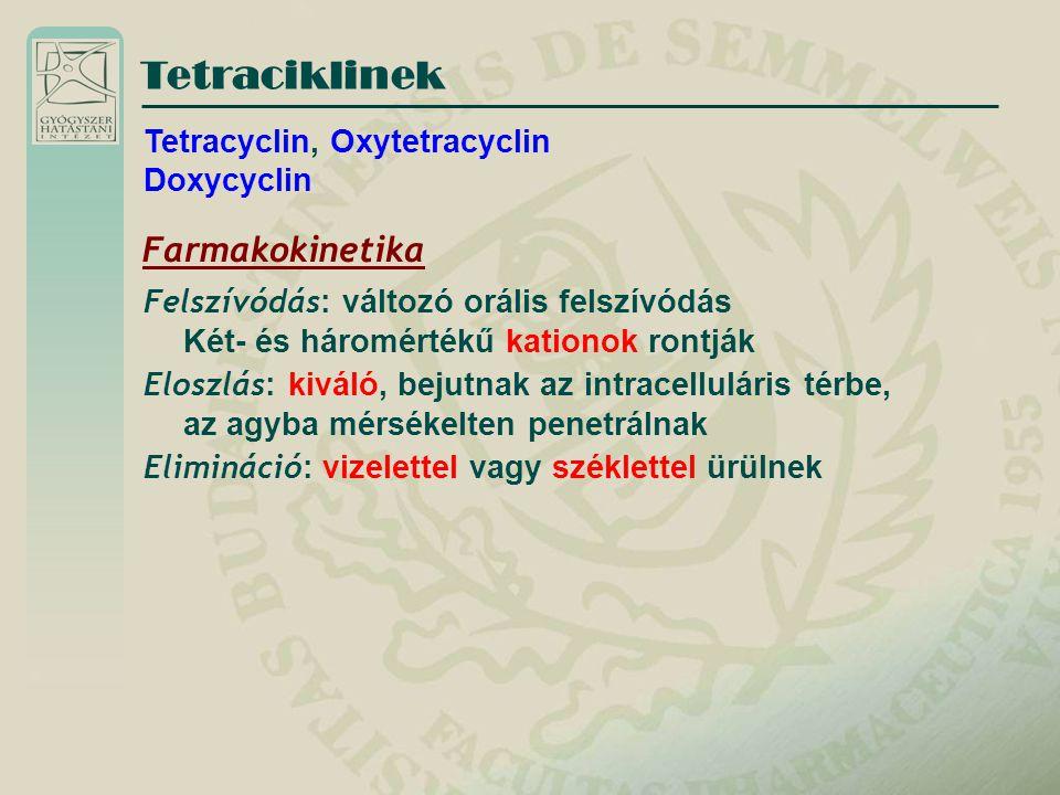 Tetraciklinek Farmakokinetika Tetracyclin, Oxytetracyclin Doxycyclin