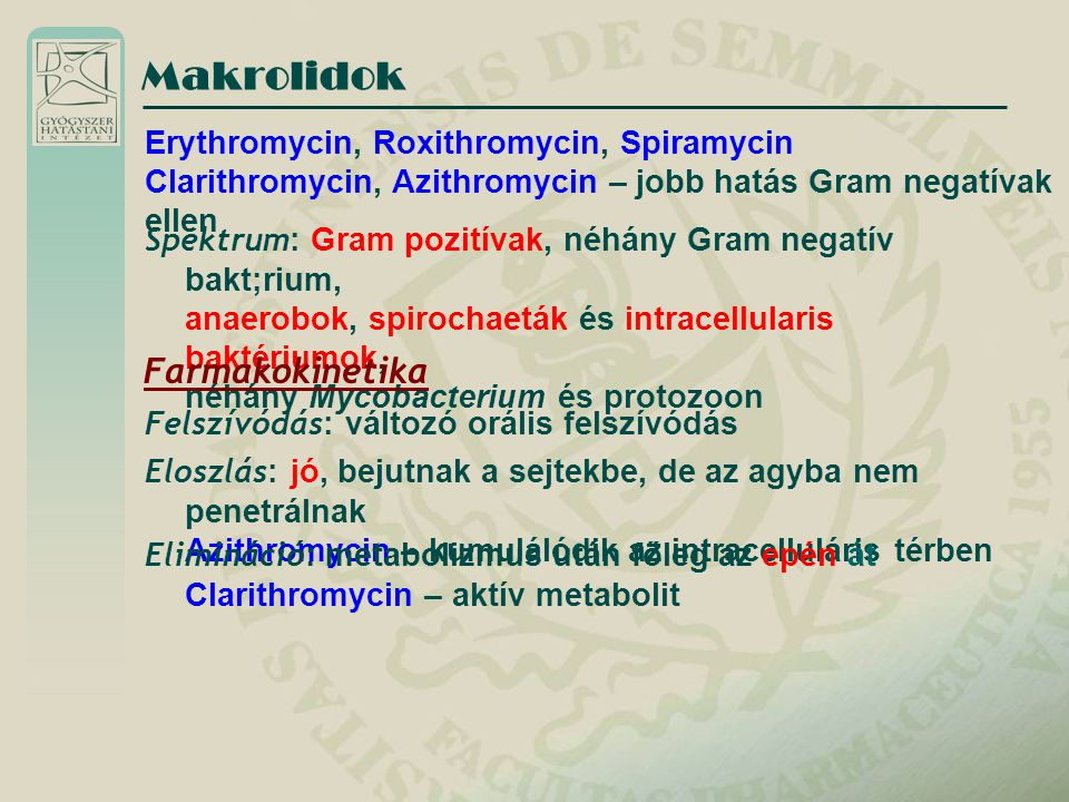 Makrolidok Farmakokinetika Erythromycin, Roxithromycin, Spiramycin