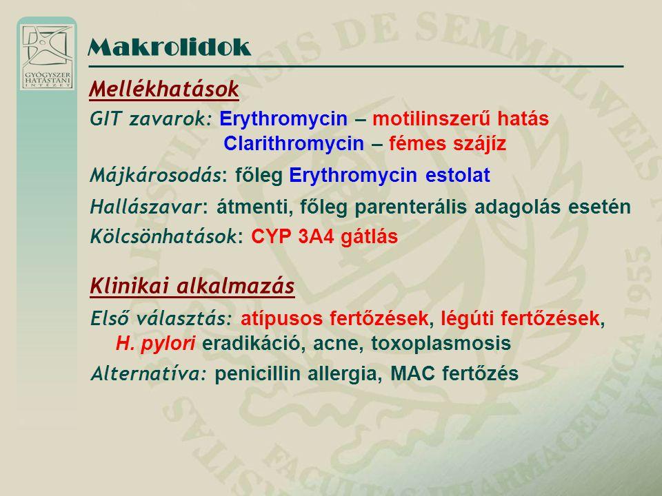 Makrolidok Mellékhatások Klinikai alkalmazás
