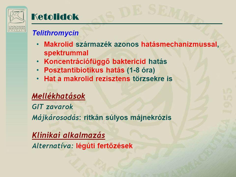 Ketolidok Mellékhatások Klinikai alkalmazás Telithromycin
