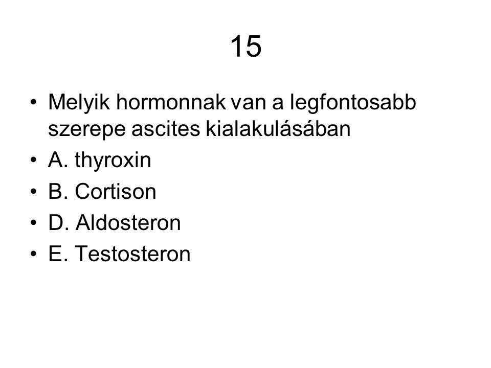 15 Melyik hormonnak van a legfontosabb szerepe ascites kialakulásában