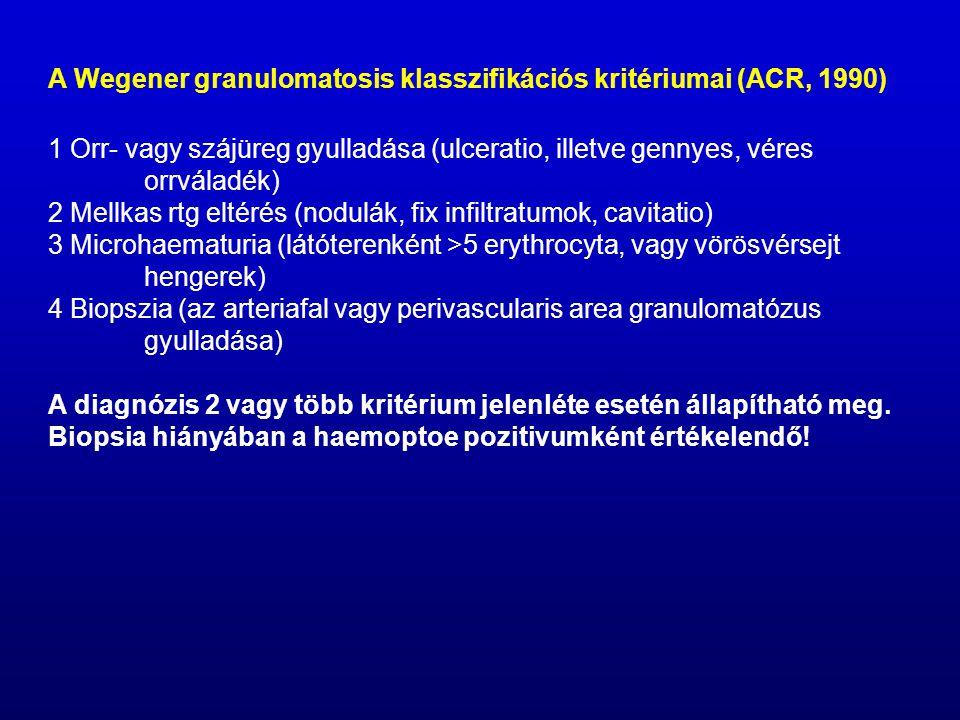 A Wegener granulomatosis klasszifikációs kritériumai (ACR, 1990)