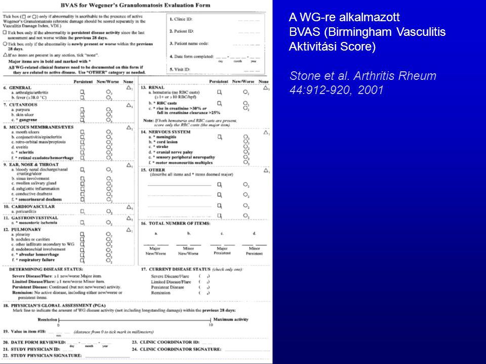 A WG-re alkalmazott BVAS (Birmingham Vasculitis. Aktivitási Score) Stone et al.
