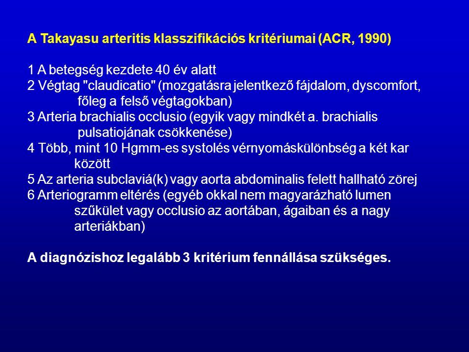 A Takayasu arteritis klasszifikációs kritériumai (ACR, 1990)