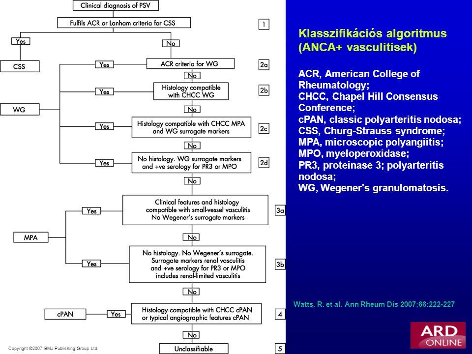 Klasszifikációs algoritmus (ANCA+ vasculitisek)