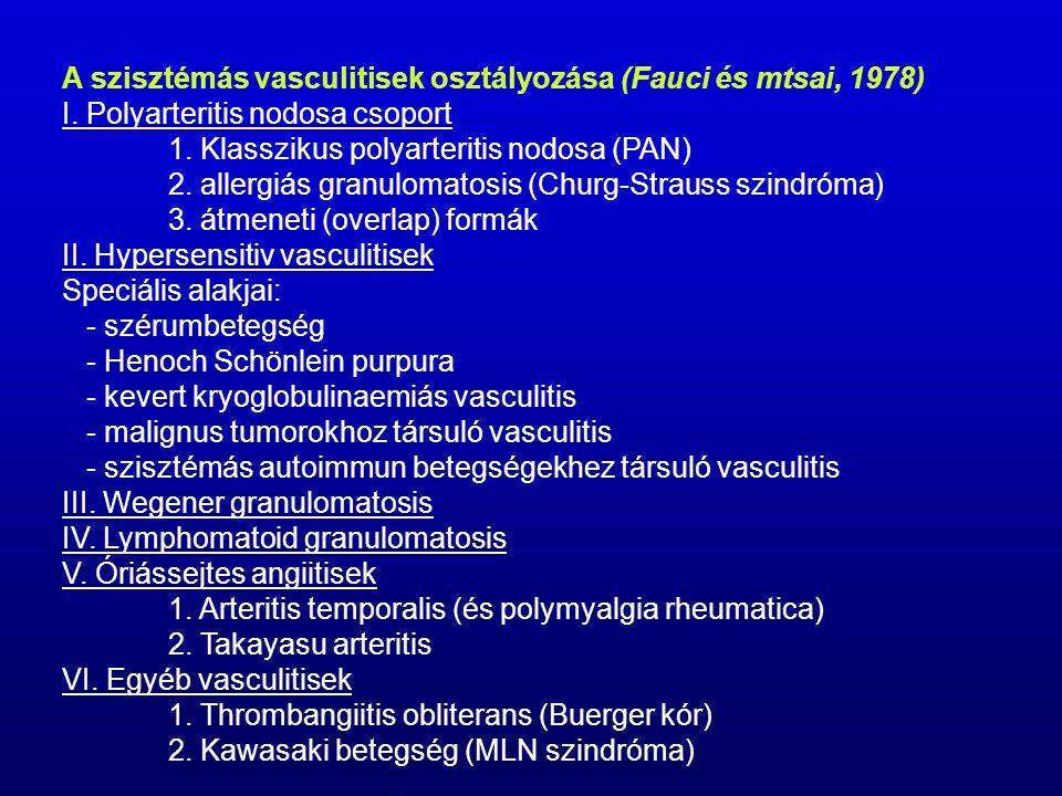 A szisztémás vasculitisek osztályozása (Fauci és mtsai, 1978)