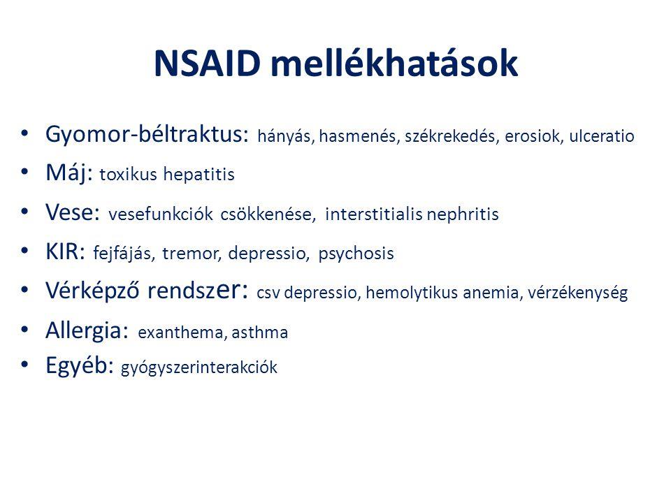 NSAID mellékhatások Gyomor-béltraktus: hányás, hasmenés, székrekedés, erosiok, ulceratio. Máj: toxikus hepatitis.