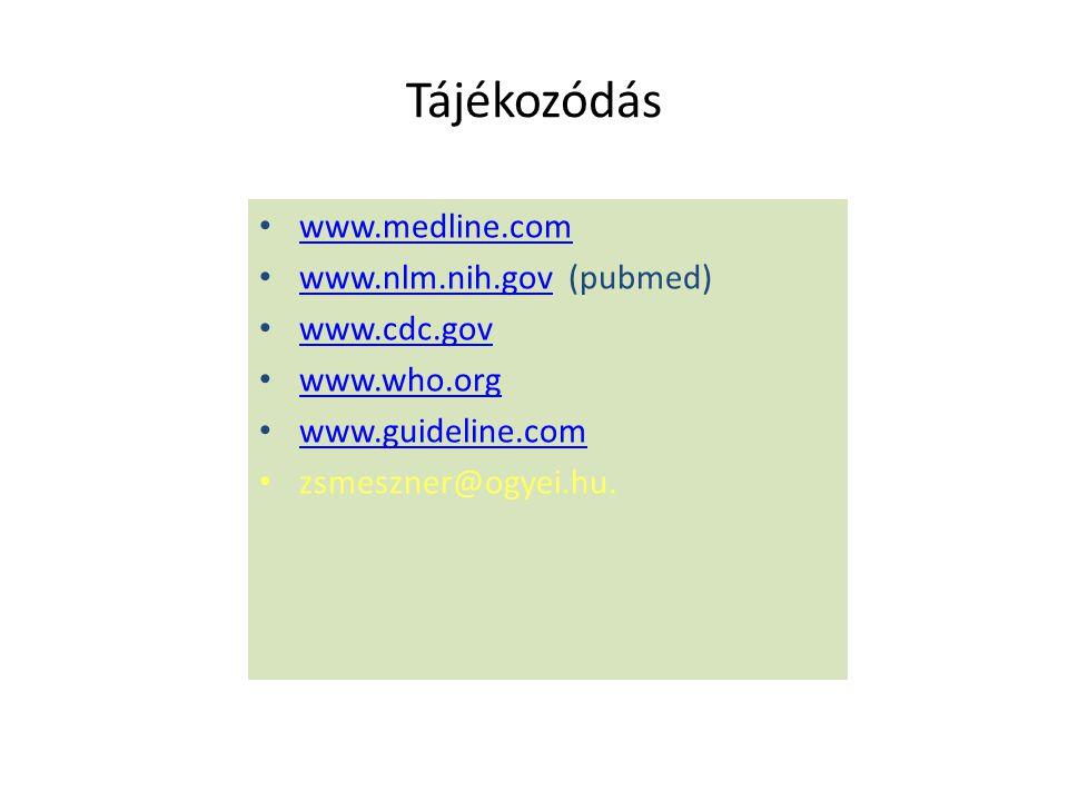 Tájékozódás www.medline.com www.nlm.nih.gov (pubmed) www.cdc.gov
