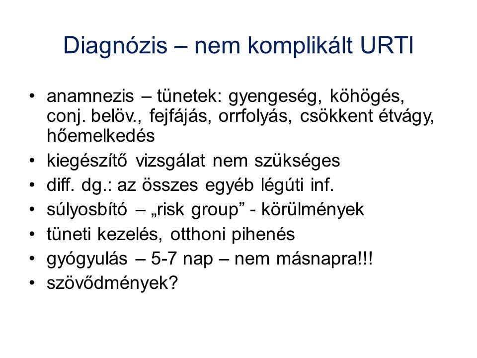 Diagnózis – nem komplikált URTI