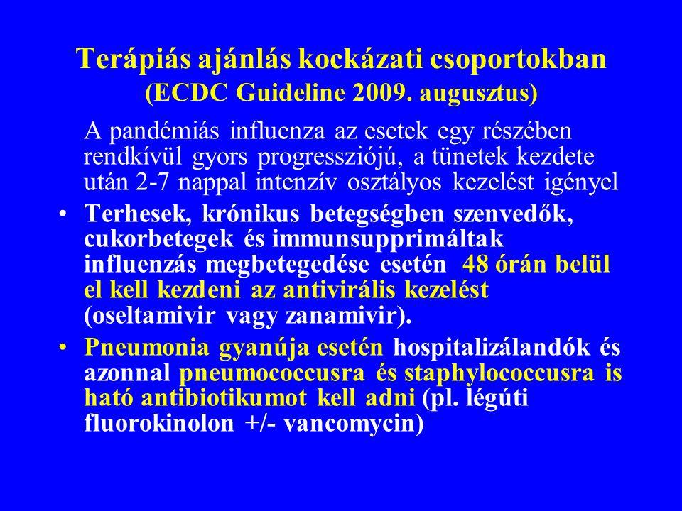 Terápiás ajánlás kockázati csoportokban (ECDC Guideline 2009