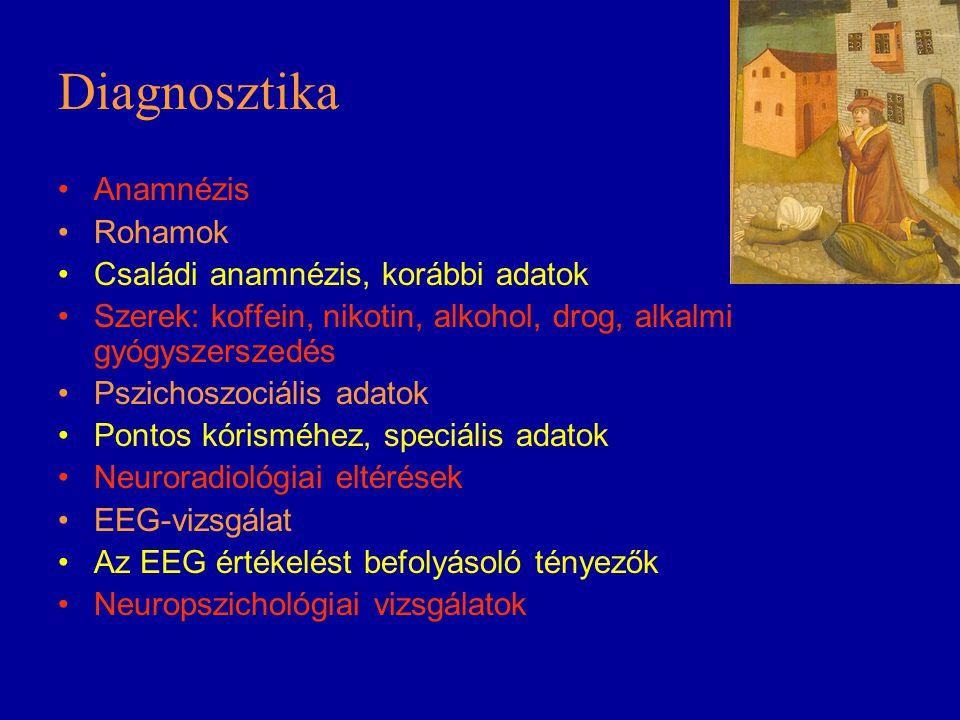 Diagnosztika Anamnézis Rohamok Családi anamnézis, korábbi adatok