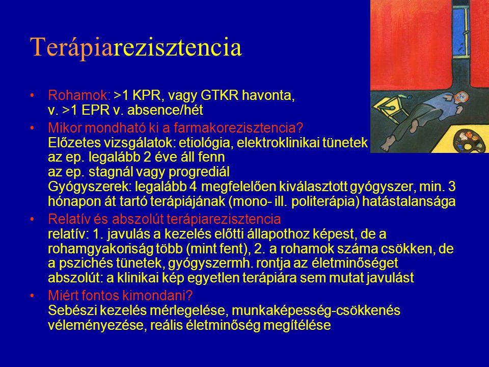 Terápiarezisztencia Rohamok: >1 KPR, vagy GTKR havonta, v. >1 EPR v. absence/hét.