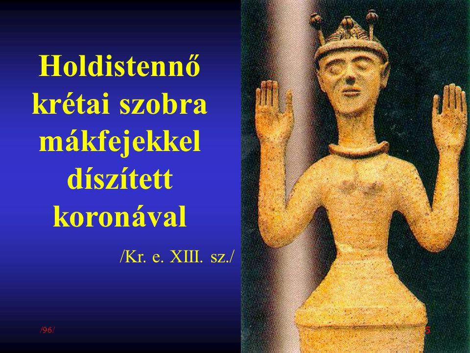 Holdistennő krétai szobra mákfejekkel díszített koronával