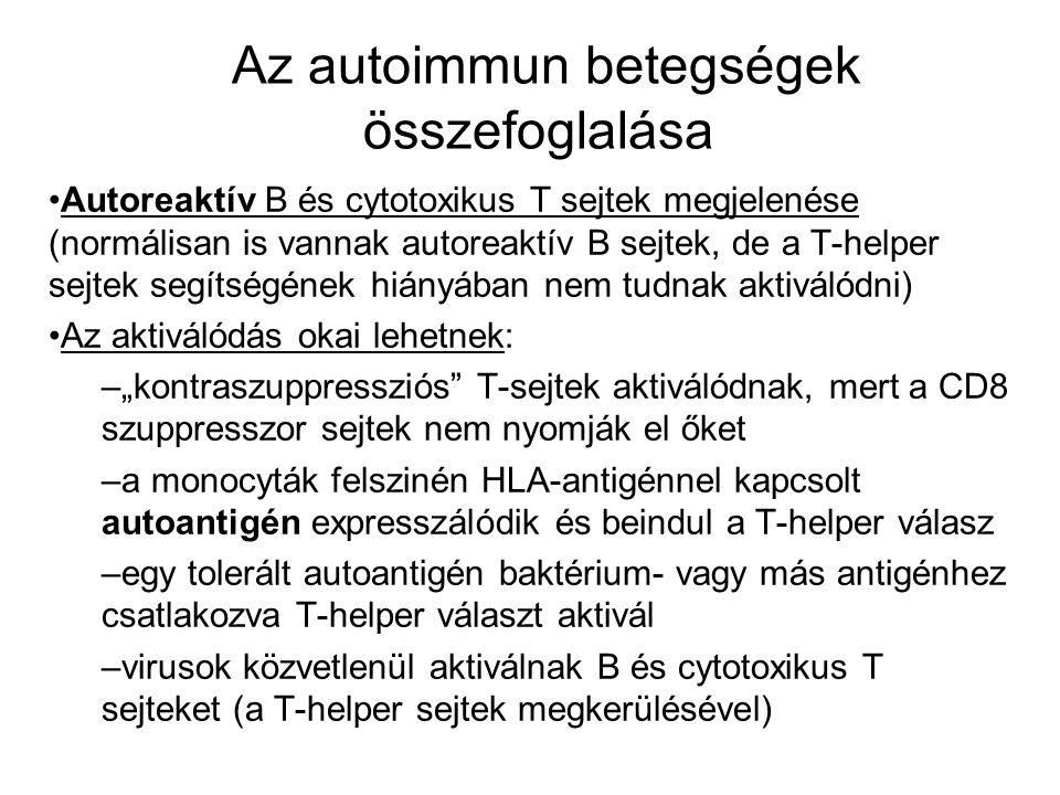 Az autoimmun betegségek összefoglalása