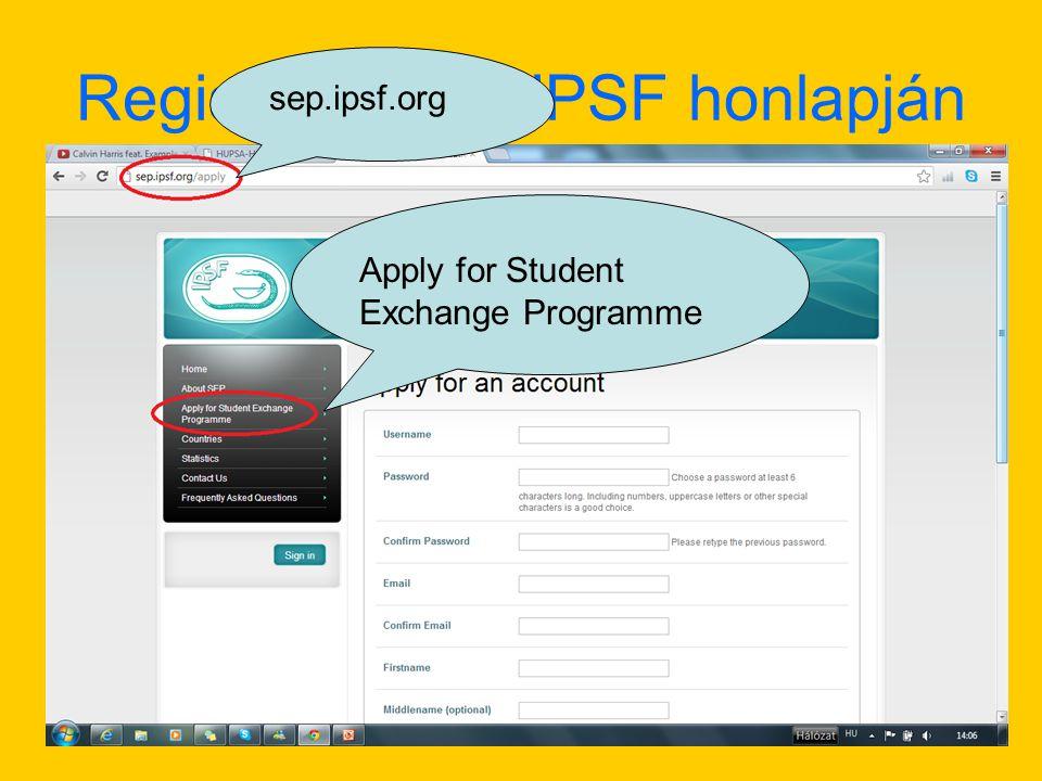 Regisztráció az IPSF honlapján