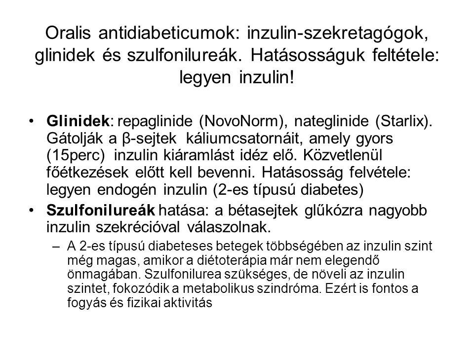 Oralis antidiabeticumok: inzulin-szekretagógok, glinidek és szulfonilureák. Hatásosságuk feltétele: legyen inzulin!