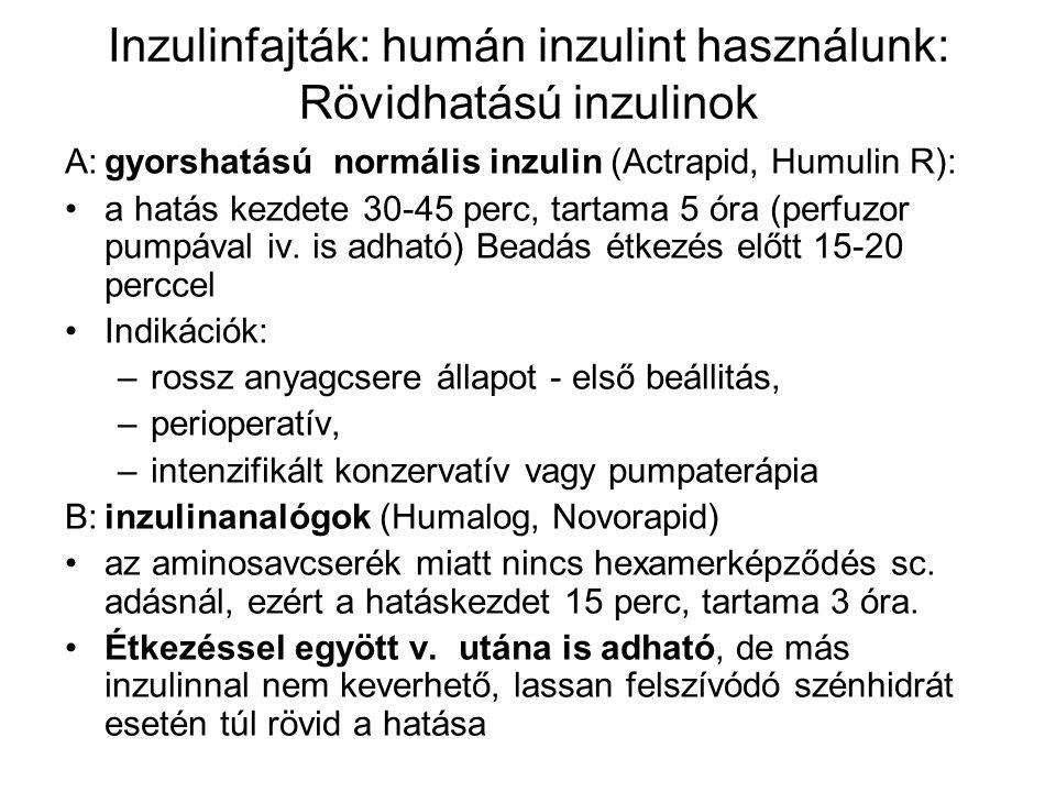Inzulinfajták: humán inzulint használunk: Rövidhatású inzulinok