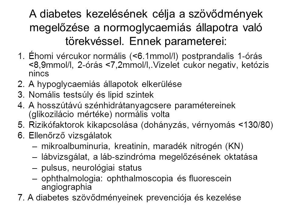 A diabetes kezelésének célja a szövődmények megelőzése a normoglycaemiás állapotra való törekvéssel. Ennek parameterei: