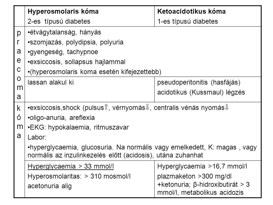 praecoma kóma Hyperosmolaris kóma 2-es típusú diabetes