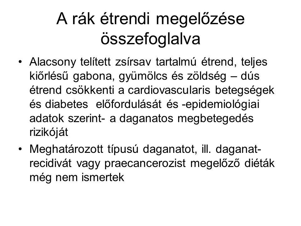 A rák étrendi megelőzése összefoglalva