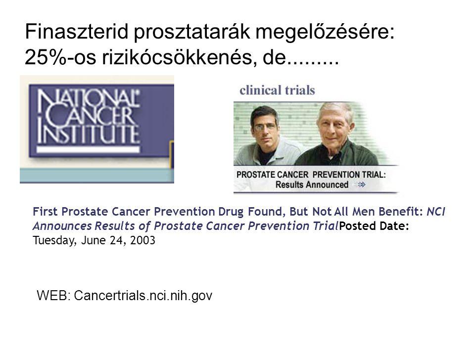 Finaszterid prosztatarák megelőzésére: 25%-os rizikócsökkenés, de.........