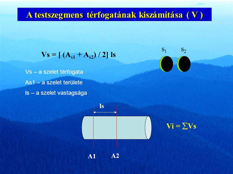 A testszegmens térfogatának kiszámítása ( V )
