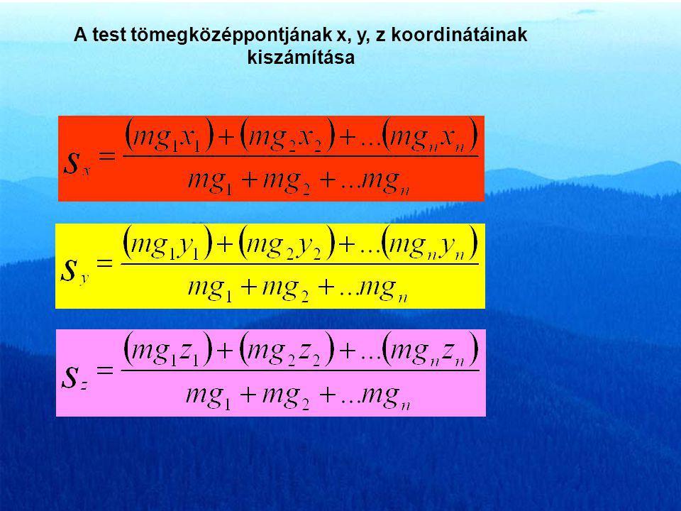 A test tömegközéppontjának x, y, z koordinátáinak kiszámítása