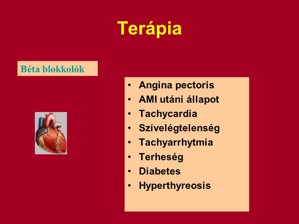 Terápia Béta blokkolók Angina pectoris AMI utáni állapot Tachycardia