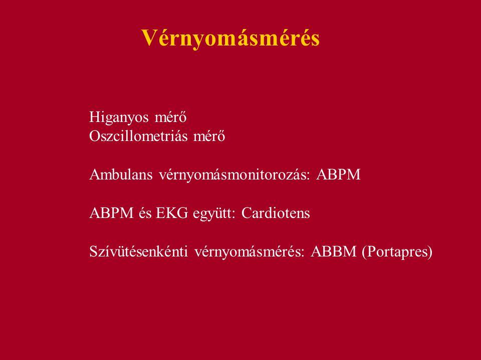 Vérnyomásmérés Higanyos mérő Oszcillometriás mérő