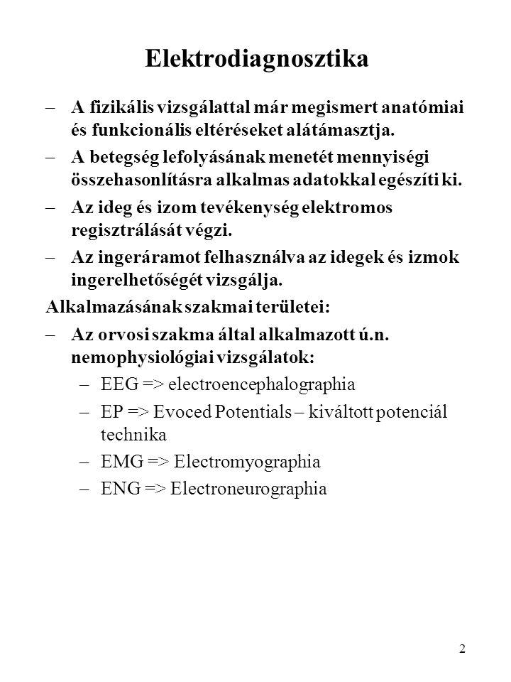 Elektrodiagnosztika A fizikális vizsgálattal már megismert anatómiai és funkcionális eltéréseket alátámasztja.