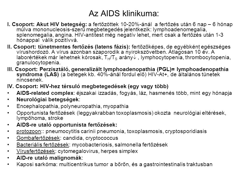 Az AIDS klinikuma: