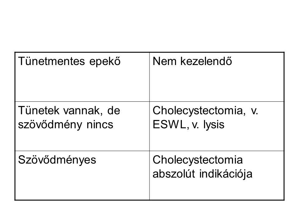 Tünetmentes epekő Nem kezelendő. Tünetek vannak, de szövődmény nincs. Cholecystectomia, v. ESWL, v. lysis.