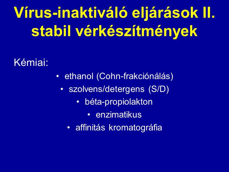 Vírus-inaktiváló eljárások II. stabil vérkészítmények