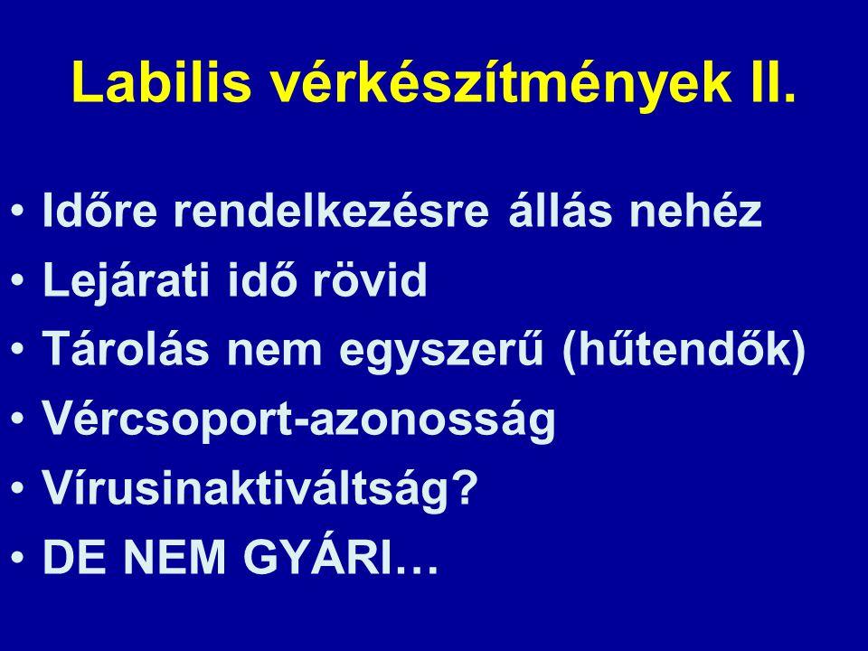 Labilis vérkészítmények II.