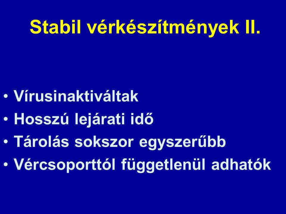 Stabil vérkészítmények II.