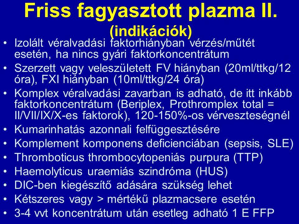 Friss fagyasztott plazma II. (indikációk)